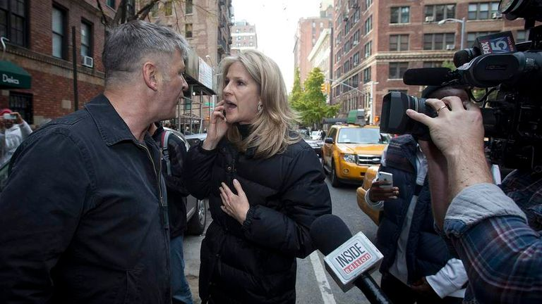 Alec Baldwin confronts a reporter in New York