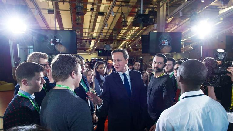 David Cameron takes part in the Ask The Leaders event in London