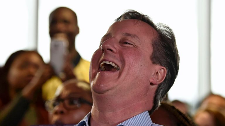 Prime Minister David Cameron  enjoys a joke during the EU referendum campaign in June 2015