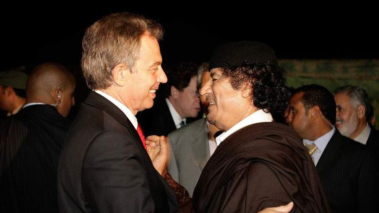 Tony Blair and Muammar Gaddafi