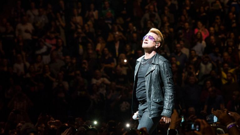 Bono from U2 performing during their Innocence + Experience tour at the O2 arena in Greenwich, London.