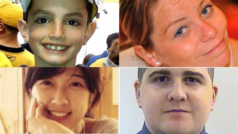 Clockwise from top left: Martin Richard, Krystle Campbell, Sean Collier, Lingzi Lu