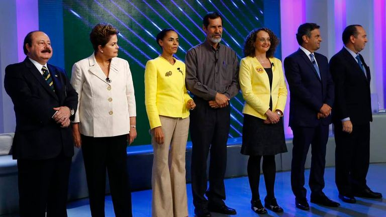 Brazil's presidential candidates take part in a TV debate in Rio de Janeiro