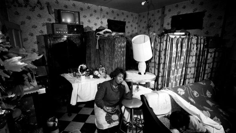 A undated photo of  a slum interior in Colville Gardens, London