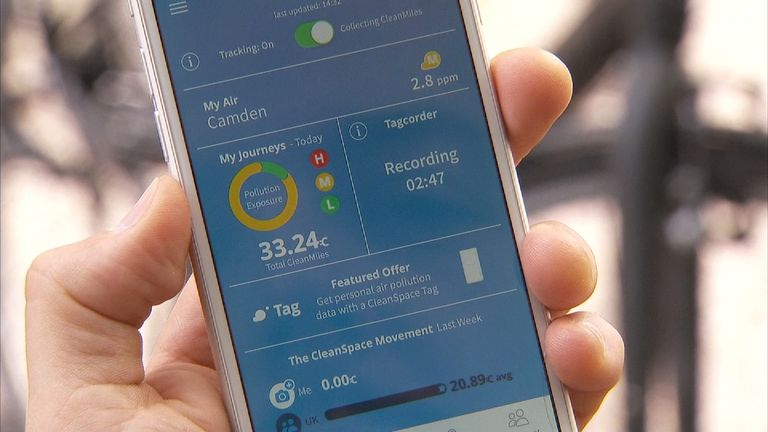 The CleanSpace app enablespeople to monitor pollution levels