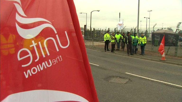 Tanker drivers on strike outside Grangemouth oil refinery