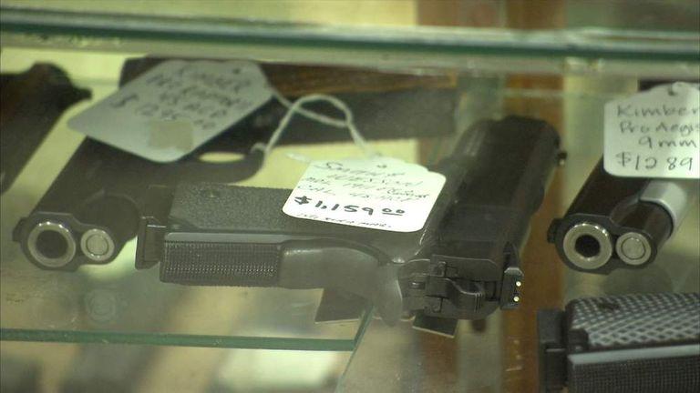 Handguns on sale in a shop in Chicago