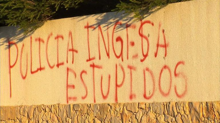 English police targeted with abusive graffiti in Portugal