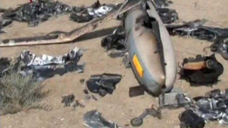 Iranian state TV footage of what is says is a downed Israeli drone