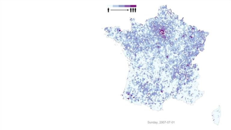 Population Movement In France Mapped With Mobile Phone Use