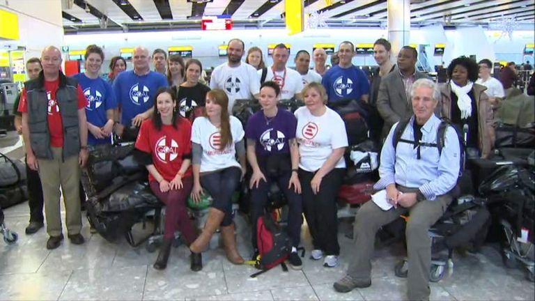 NHS Volunteers Leave Heathrow Airport Bound For Sierra Leone