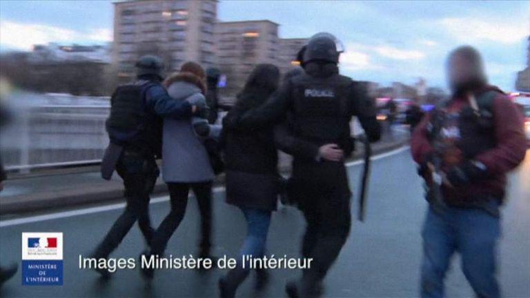 Paris France Supermarket siege people led away