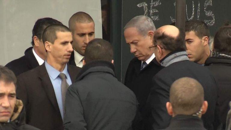 Israel Prime Minister Netanyahu at Paris attack supermarket