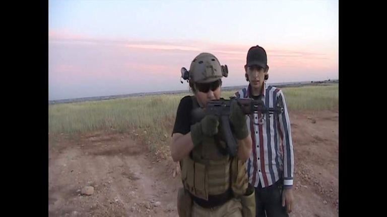 Aleppo Syria July 2014 Japan contractor HARUNA YUKAWA shooting AK47