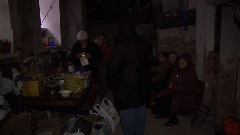 Inside a bomb shelter in Donetsk.