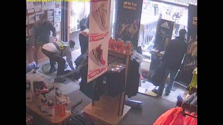 15 april 2013 Boston bomb cctv inside Marathon Sports store