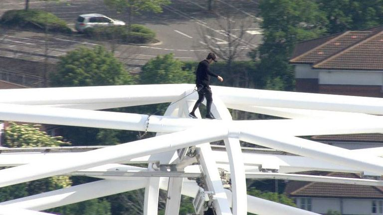 Free runner James Kingston on the Wembley arch