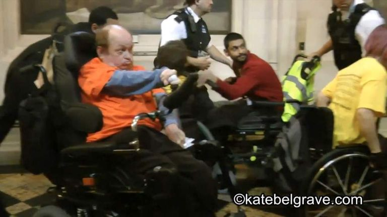 Disability protest in lobby of Houses of Parliament