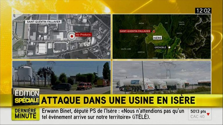 French TV shows activity close to the scene of the attack in Grenoble.