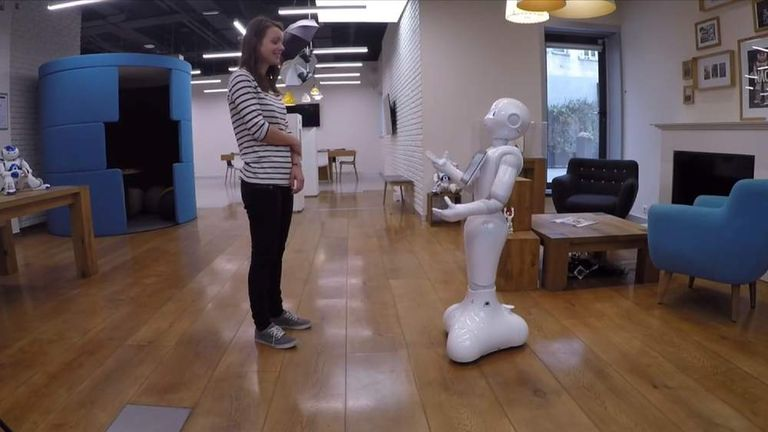 User interacts with Pepper the robot