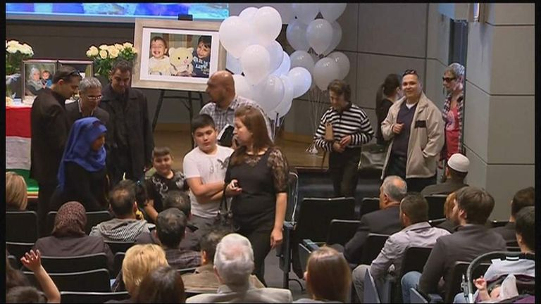 Memorial service for brothers Aylan and Galip Kurdi and their mother Rehanna