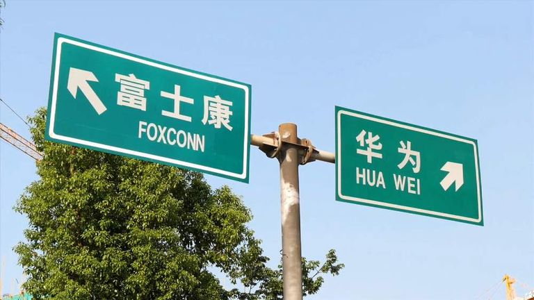 Huawei and Foxxcon signs