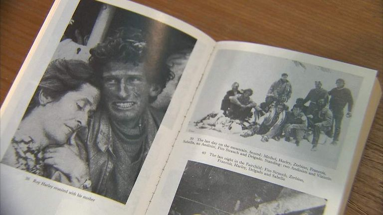 Book showing plane crash survivors