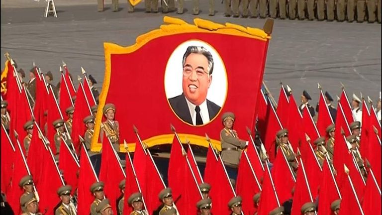 The parade in Pyongyang to commemorate the anniversary of the country's founding party