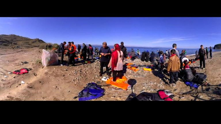 A view of a beach on Lesbos filmed on a 360 degree camera