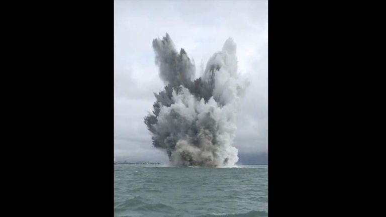 bomb detonated in the Solent