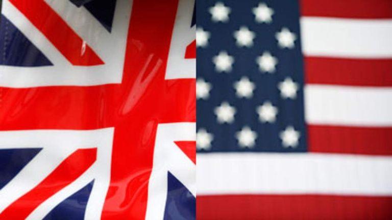 Union Jack and US flag.