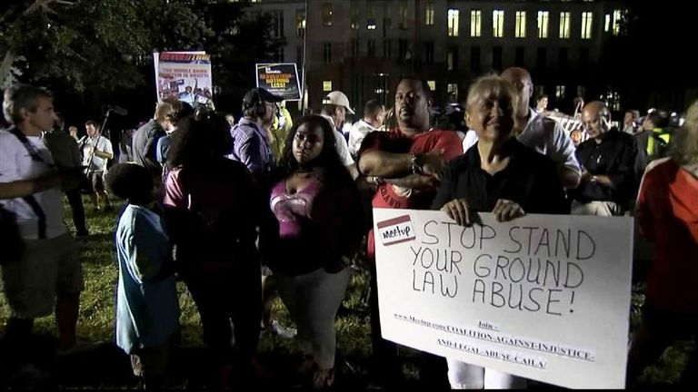 Scenes outside Florida court house where Zimmerman acquitted