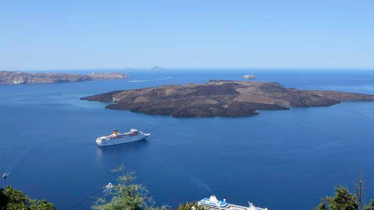 Cruise ships off the Greek island of Santorini