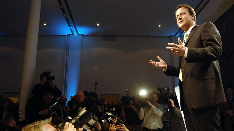 David Cameron answers media questions after being elected Tory Party leader in 2005