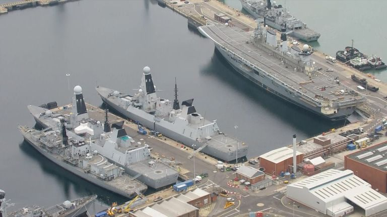 Royal Navy Type 45 Destroyers docked in Portsmouth