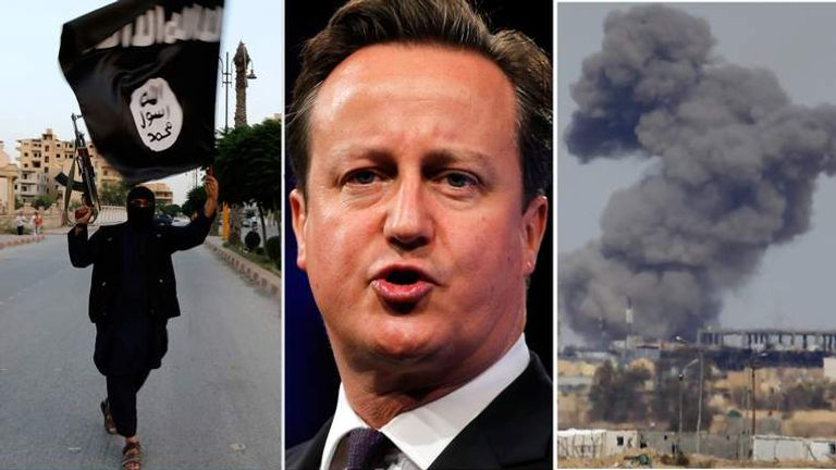 Composite image showing an Islamic State fighter, David Cameron and an airstrike in Iraq.