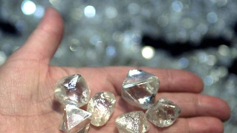 Picture shows a handful of diamonds weighing over 50 carats each, found in various pipes of Yakutia,..