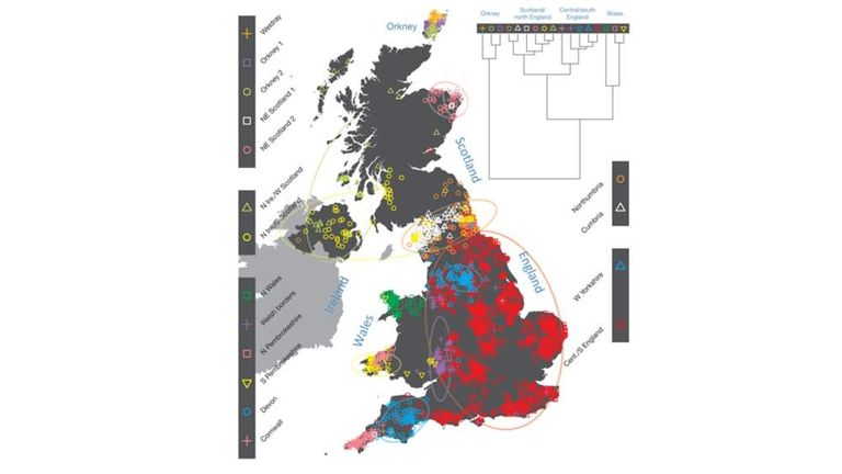 A map showing the genetic sub groups of people living in parts of the UK