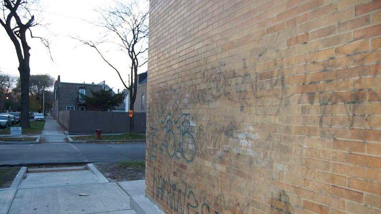 Gang graffiti in Chicago.