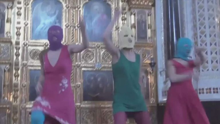 """Three punk rockers from the band """"Pussy Riot"""" went on trial in Moscow on July 30, 2012."""