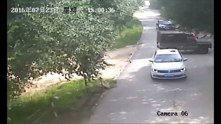 A safari park staff member followed the two women and man in a 4x4 truck after they got out of their car