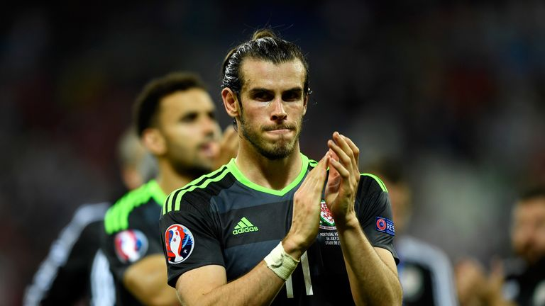 LYON, FRANCE - JULY 06:  Gareth Bale of Wales applauds the supporters after his team's defeat in the UEFA EURO 2016 semi final match between Portugal and W