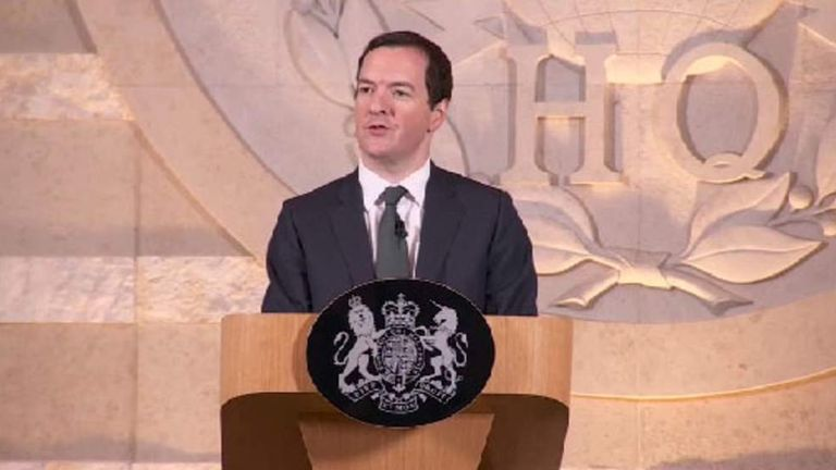 Chancellor George Osborne speaks at GCHQ in Cheltenham.