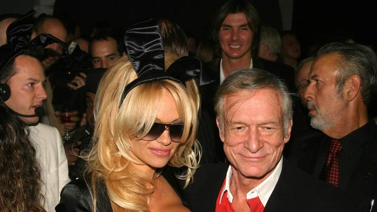Pamela Anderson and Hugh Hefner, December 2003