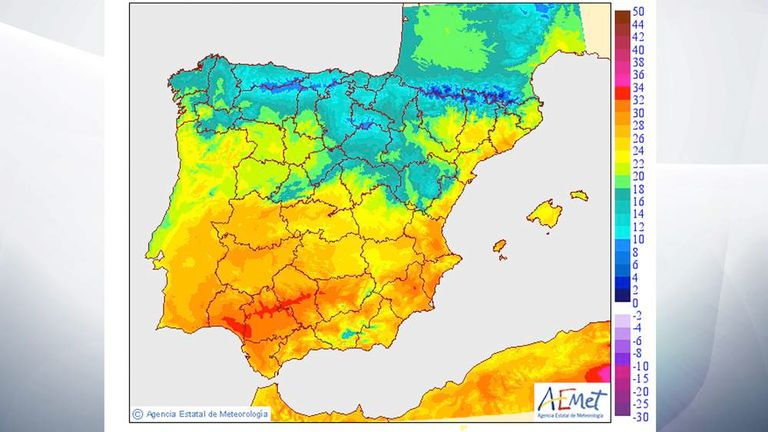 Map Of Southern Spain And Portugal.Portugal And Spain Sizzling In Record Heatwave World News Sky News
