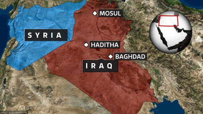 A map showing the location of Haditha and Mosul in Iraq.