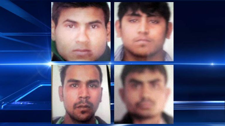 Clockwise from top left: Vinay Sharma, Pawan Gupta, Akshay Thakur and Mukesh Singh, the men convicted over a gang rape in Delhi, India