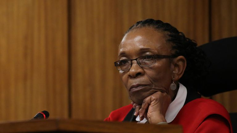 PRETORIA, SOUTH AFRICA - JUNE 15:  Judge Thokozile Masipa looks on during the third day of Oscar Pistorius' resentencing hearing at Pretoria High Court on