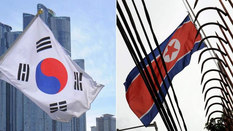South and North Korea flags
