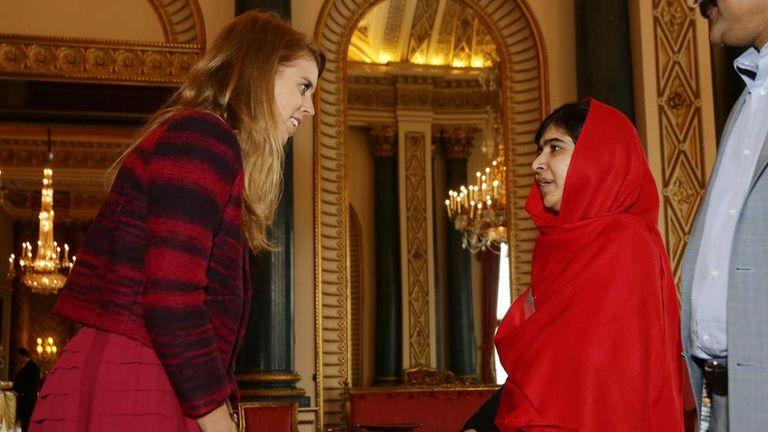 Malala meets Princess Beatrice at Buckingham Palace